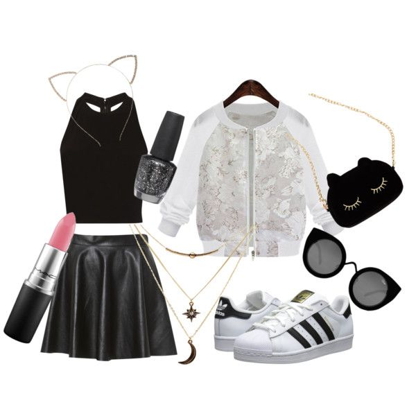 Cat Fashion by tamaraispeople on Polyvore featuring Alice + Olivia, adidas Originals, WithChic, Charlotte Russe, Quay, Cara, MAC Cosmetics and OPI