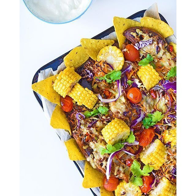 Has sweet potato ever made anything taste bad? This colourful creation by Dreaming of Almonds is the healthy Sweet Potato Nachos from I Quit Sugar: Simplicious.