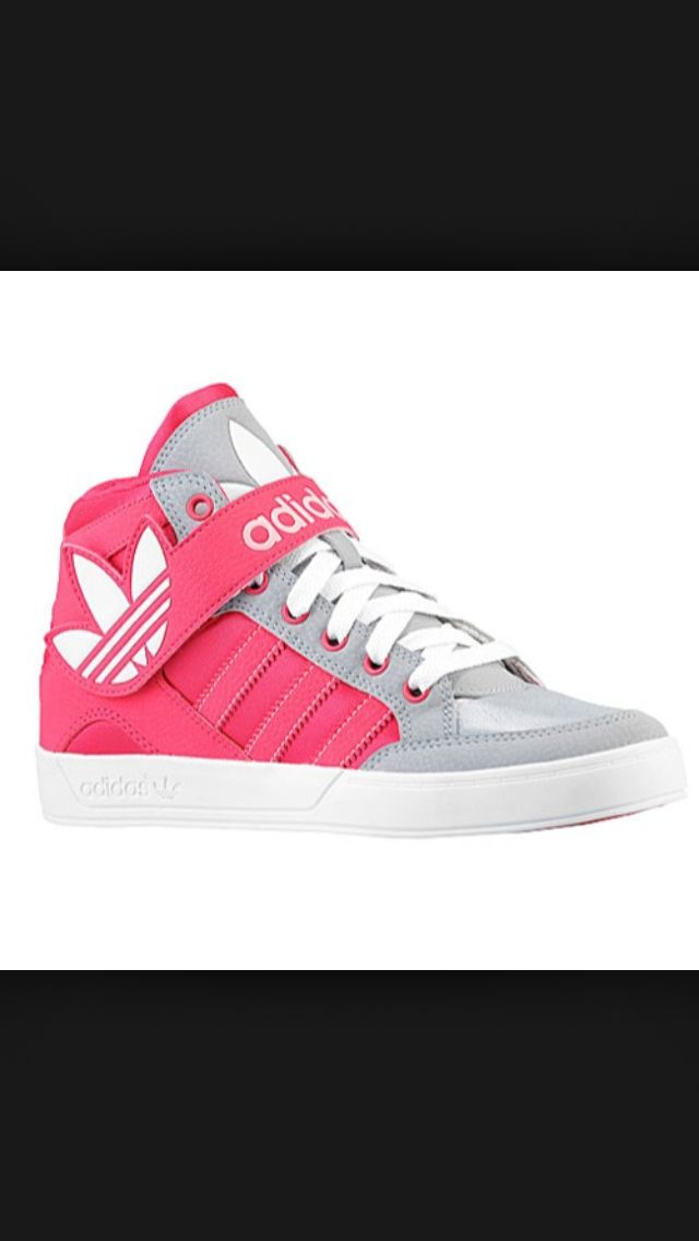 adidas Originals Hard Court Hi Strap - Girls' Grade School - Mid Grey/Vivid  Berry/Glow Pink Xitlali's choice of shoes for the grade