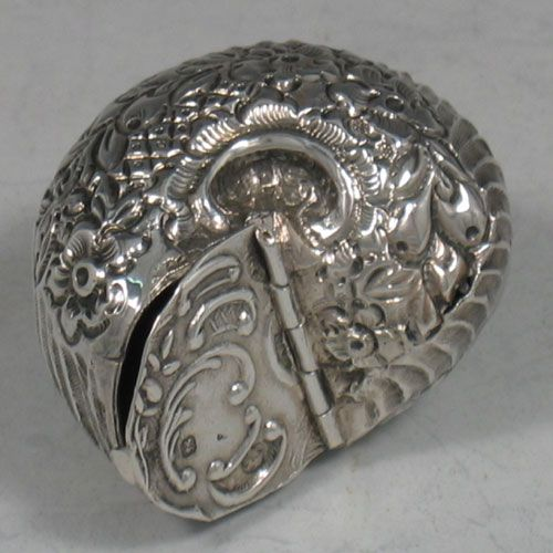 Antique Victorian sterling silver hand-chased snail pillbox made in Sheffield, 1898