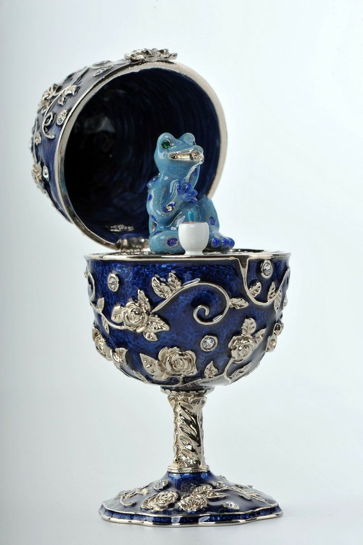Faberge Egg with a blue frog Trinket Box by Keren Kopal Swarovski Crystal - Each item is made of pewter