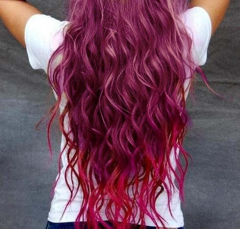 Burgundy and red dip dyed wavy hair | Hair | Pinterest