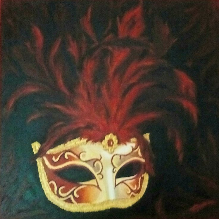 Masque de Venise aux plumes rouges. peinture acrylique, Christine Monsion