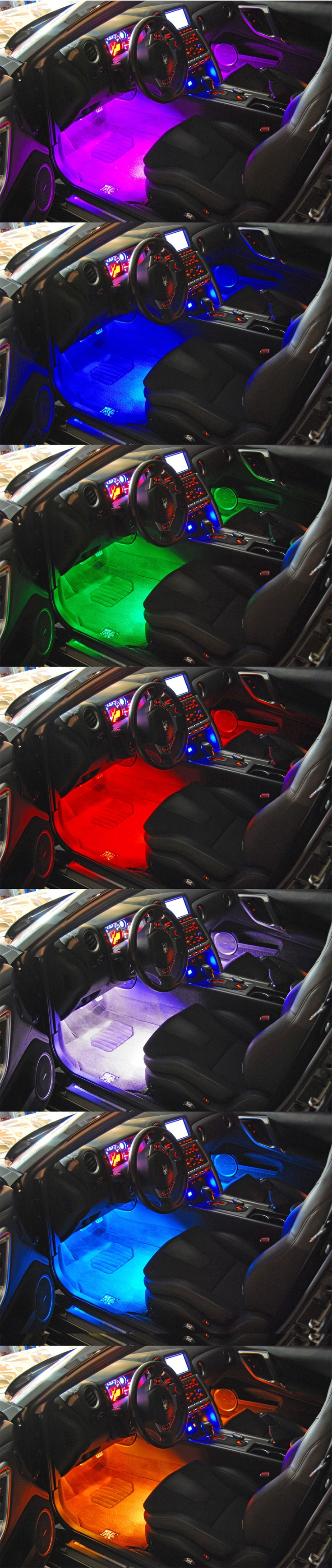 Nissan GTR Custom Interior LED Lighting by FlyRyde. RGB LEDs controlled wireless via Remote.