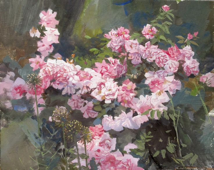 Shrub Roses, casein, 8 x 10 inches, painted at the New York Botanical Gardens