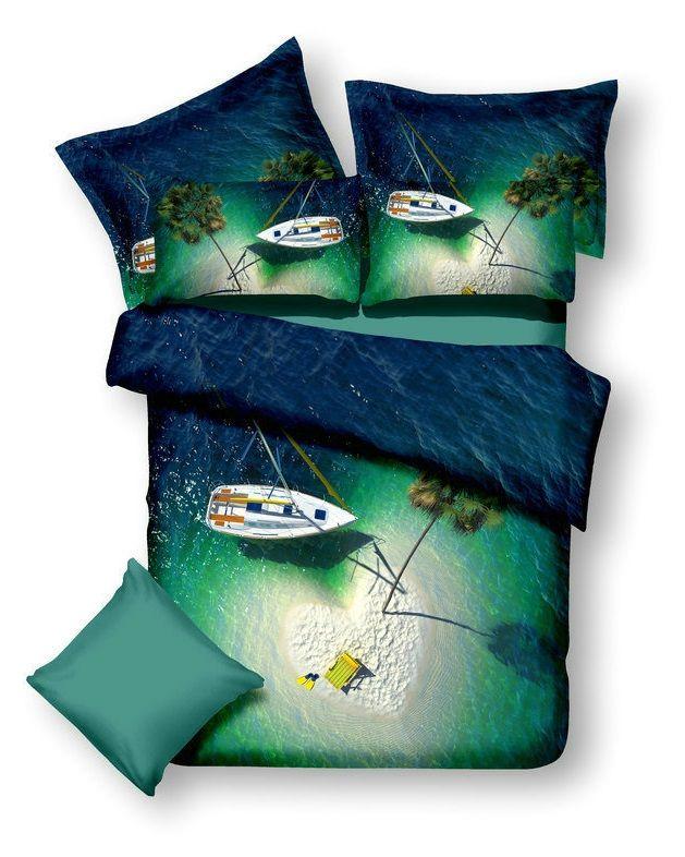 Modrá lagúna posteľné obliečky v zeleno modrej farbe
