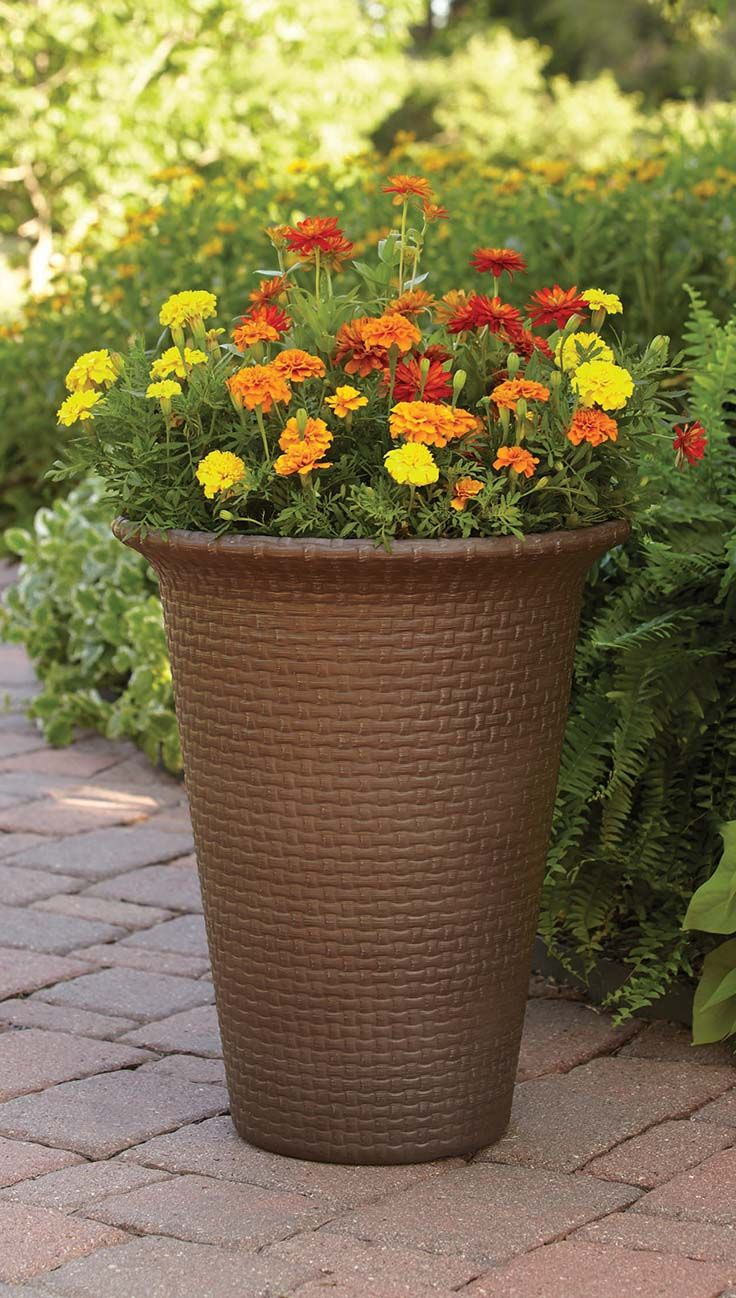 Better homes and gardens gardening - Better Homes And Gardens Montreal 16 Decorative Resin Wicker Planter Dark Brown