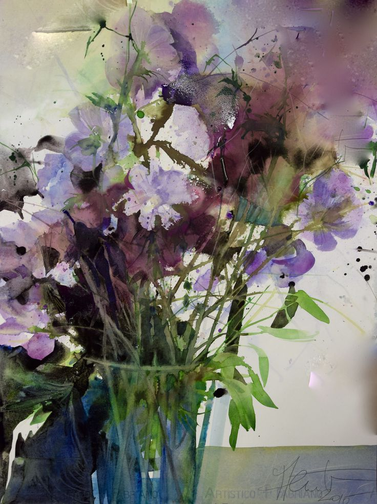 Stunning watercolour painting of flowers by Elke Memmler