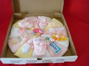 Baby shower idea!! Baby Girl Diaper Pizza