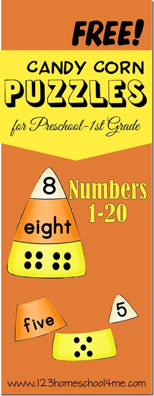 Kids will have fun practicing numbers and number words with these math with these FREE candy corn number puzzles for preschool, kindergarten, and 1st grade.