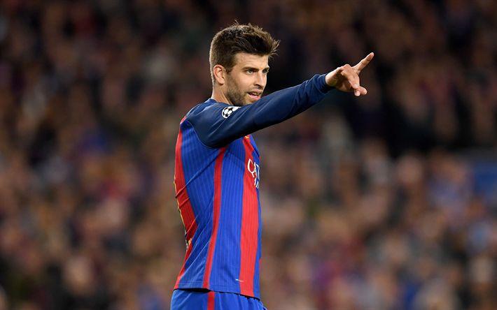 Download wallpapers Gerard Pique, 4K, Spanish footballer, defender, Barcelona FC, Spain, La Liga