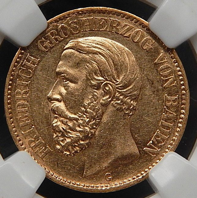 73 G Germany / Baden Gold 20 Mark Graded By Ngc Au 58 Collectible Coin