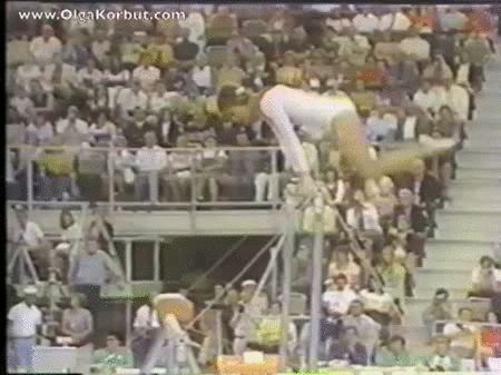 Look at the back flip over the lower bar and back onto the high bar!   The Coolest Move They Got Rid Of In Olympic Gymnastics