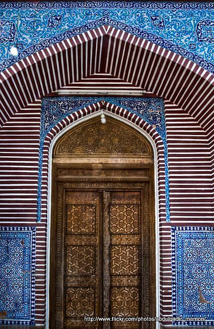 Entry door to the Shah Jahan Mosque which is located in Thatta, Sindh province, Pakistan. It was built during the reign of Mughal emperor Shah Jahan.