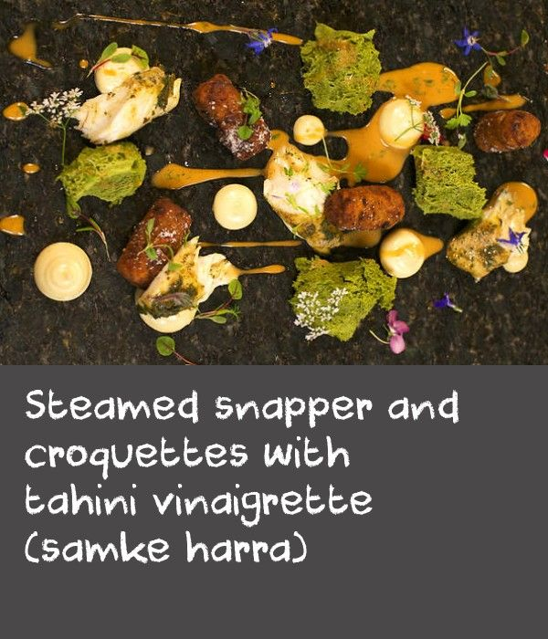 Steamed snapper and croquettes with tahini vinaigrette (samke harra) | Shane's deconstructed and modern interpretation of the Lebanese dish samke hara blends Arabic history with Asian and continental influences. You will need a cream gun to make the coriander sponge.