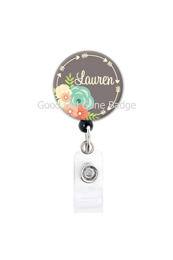 Retractable ID Badge Holder - Personalized Name - Flowers and Arrows - Choice of Colors - Badge Reel by GoodGirlGoneBadge on Etsy https://www.etsy.com/listing/194667982/retractable-id-badge-holder-personalized