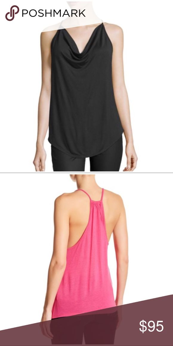 """COMING SOON Haute Hippie Cowl Neck Racer Back Tank Temporary stock photos courtesy of Nordstrom. Back view is in pink, but is the same style as the black tank. Also see the same tank in gray and pink. Like this listing to be notified when it's available (via price drop).  Details - Cowl neck - Spaghetti straps - Slips on over head - Racerback - Approx. 27.5"""" length (size S) 100% modal Hand wash cold Haute Hippie Tops Tank Tops"""