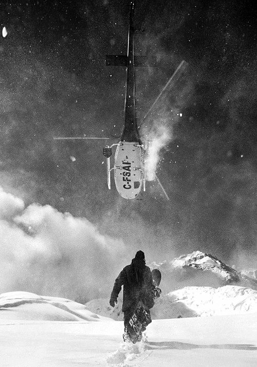 Snowboarding, helicopter, black and white, adventure