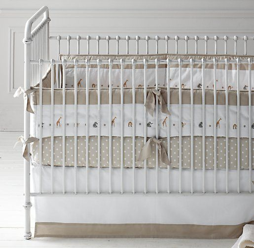 Embroidered Safari & European Pin Dot Nursery Bedding Collection