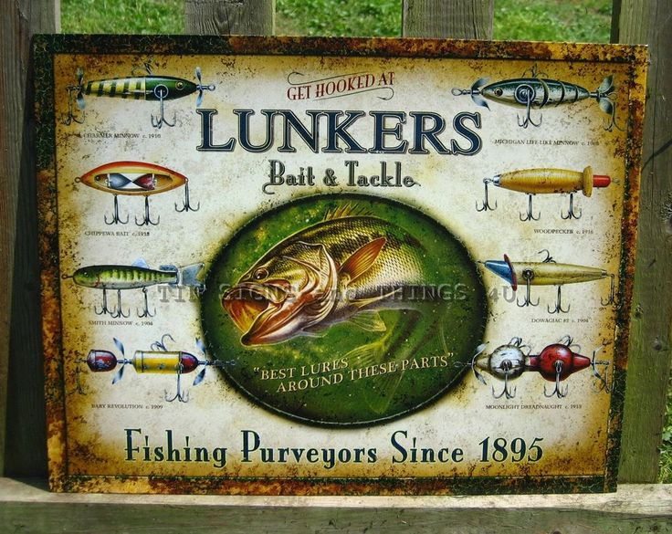 31 best fishing themed tin sign wall decor images on for Fishing lure decor