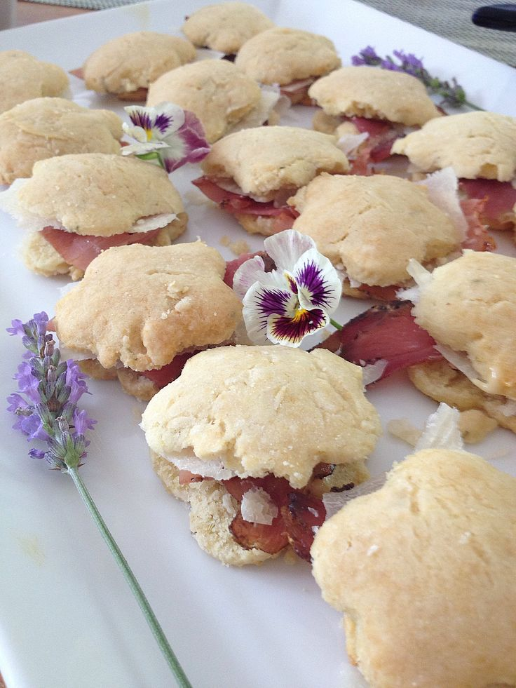 Mini savory and sweet biscuits based on North restaurants beer mustard and wingman ham tiny  biscuits. (Google 'North' in Providence RI. Momofuku chefs and inspired--menu regularly updated.)