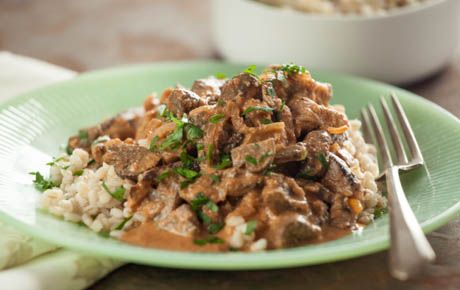 Firm, flavorful mushroom varieties like cremini, portobello, shiitake and oyster are ideal for this delicious vegan recipe. It's excellent served over barley.