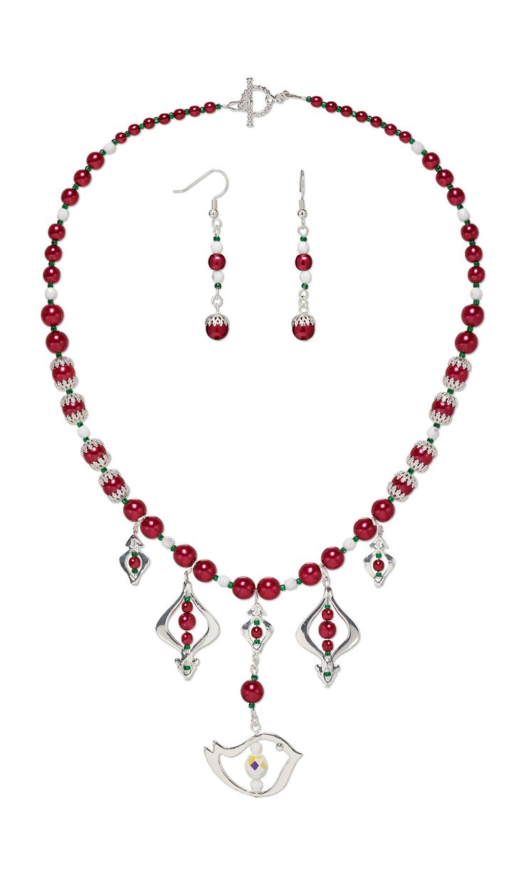 Jewelry Design - Single-Strand Necklace and Earring Set with Silver-Finished ''Pewter'' Bead Frames, Czech Pearl-Coated Glass Druk Beads and Czech Fire-Polished Glass Beads - Fire Mountain Gems and Beads