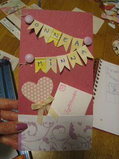 Birthday card with pennant ribbon and pocket for a note. (And in this occasion also for a heart stick.)