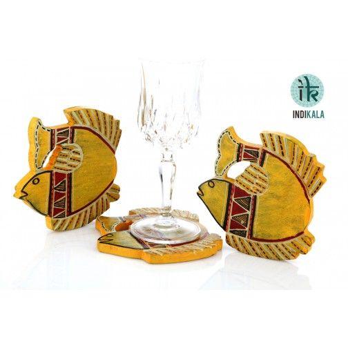 Yellow Fish Shaped  Coasters (Set of 3)