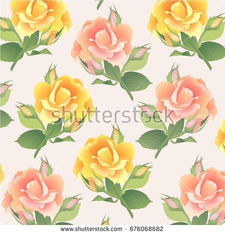 Pattern in pastel colors with a branch of pink and yellow roses
