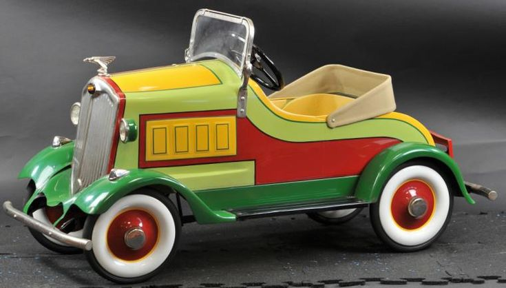 """*1933 PACKARD PEDAL CAR Fully restored tin example to an all original example, special attention was given to this striking color scheme, well detailed, nickel plated appointments, a very ornate pedal car. 45"""" l. Restored example."""