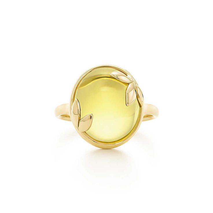 Amazing cocktail ring to make a statement. // Paloma Picasso® Olive Leaf ring in 18k gold with a citrine. | Tiffany & Co.
