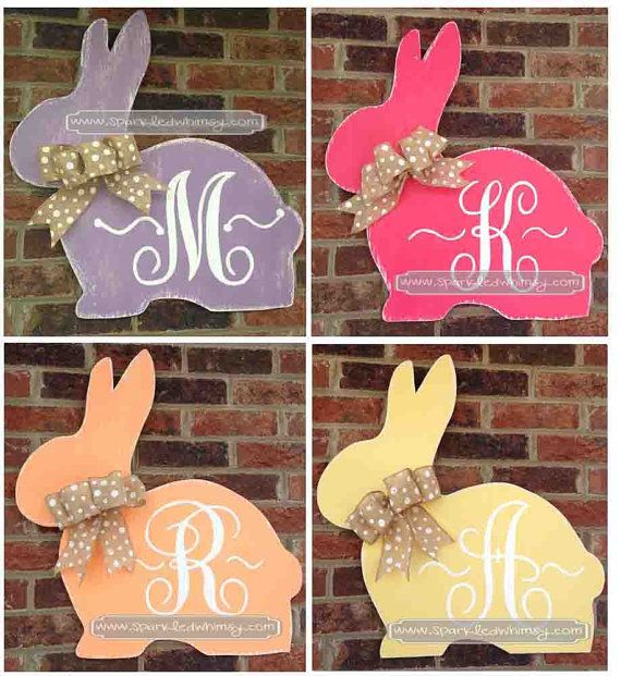 Monogrammed and Distressed Bunny Easter Door by SparkledWhimsy, $42.00