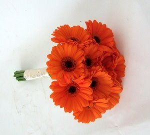 Bouquet Bridal: Orange Gerbera Daisy Wedding Bouquet