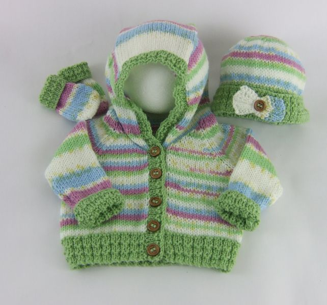 Hand Knitted Hooded Jacket with Matching Hat & Mittens £25.00