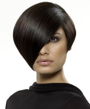 medium black straight bob side parting hairstyles for women