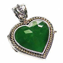 Heart jade locket. Gold 18K & sterling silver. Gerochristo Jewelry.