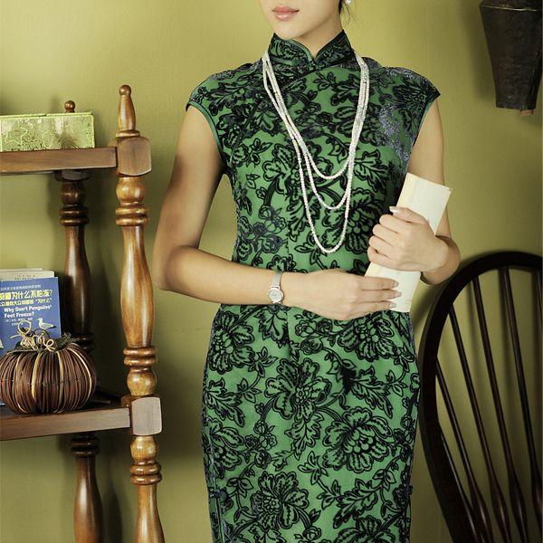 Jacquard Silk Velvet Cheognsams Green