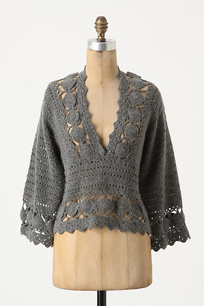 Lovely, lacy sweater idea. Would look good over many different tops. #sweater #crochet