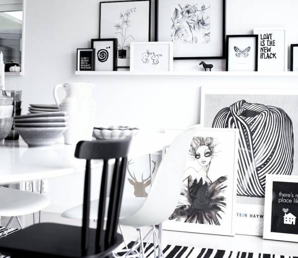 black white interiors: