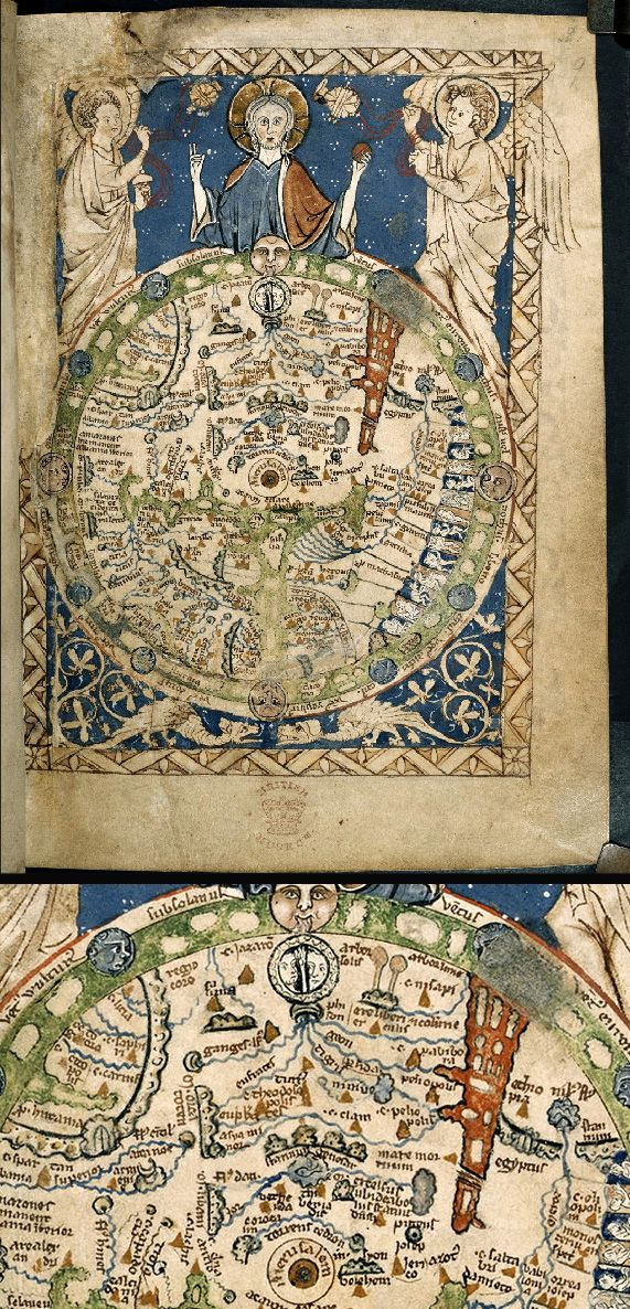 Magnificent Maps: Cartography as Power, Propaganda, and Art | Brain Pickings  Psalter World Map (mappa mundi), 1265  Despite its small size, this is one of the 'great' medieval world maps. It is probably a copy of the lost map which adorned King Henry III's bedchamber in Westminster Palace from the mid-1230s. The original colors are intact. Showing east at the top, it is a visual encyclopedia, embracing ancient history, politics, scripture and ethnography as well as geography.