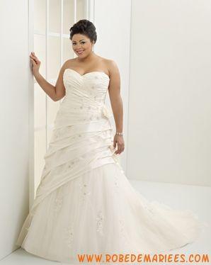 Robe de mariée élégante en taffetas et tulle ornée de plis et de broderies robe de mariée grande taille