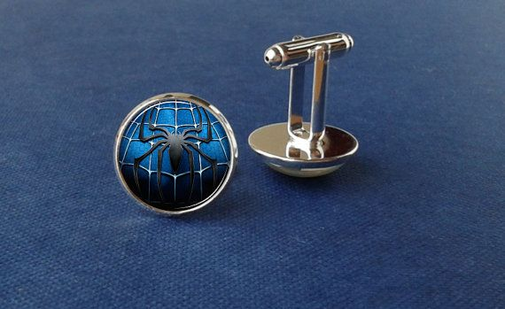 Spiderman cufflinks super hero cufflinks glass by Glassfulldreams