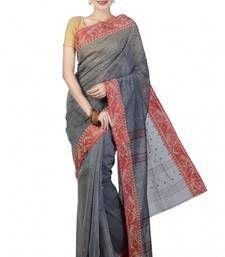 Buy Black hand woven cotton saree cotton-saree online