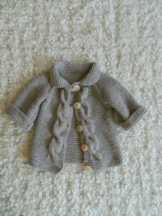 Spring Knit Baby Sweater Cardigan Cable With Wooden Buttons For Baby Boys And Girls
