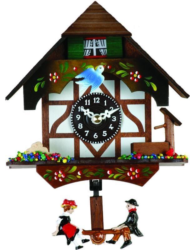 Quartz Novelty Clock - German Chalet with Bird & Well - 6 Inches Tall