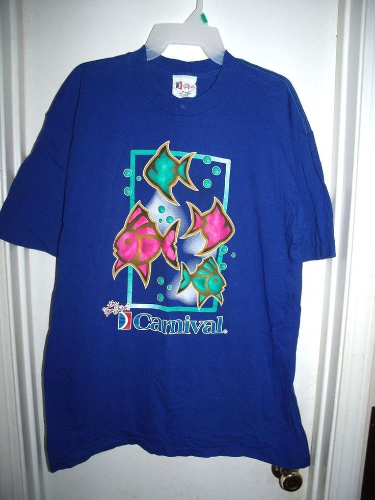 Carnival Cruise Lines The Fun Ships Blue w/ Pink Teal Fish Size XXL 2X #TheFunShips #GraphicTee