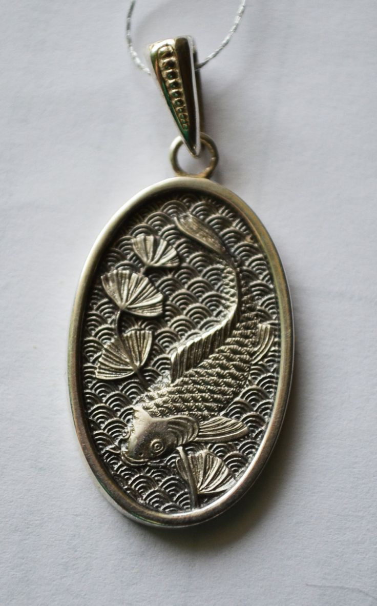 Custom Silver Sculpture Pendant Russian Design Carp Fish, Japan Theme by AnnaWeissArt on Etsy