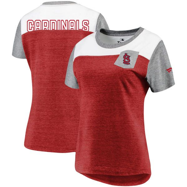 474ea8fb061ac Fanatics Branded St. Louis Cardinals Women s Heathered Red Heathered Gray  Iconic Tri-Blend