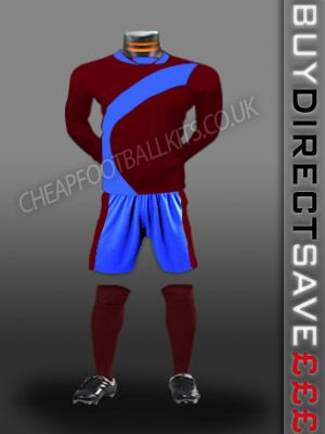 Attack Discount Football Kit Maroon/Sky